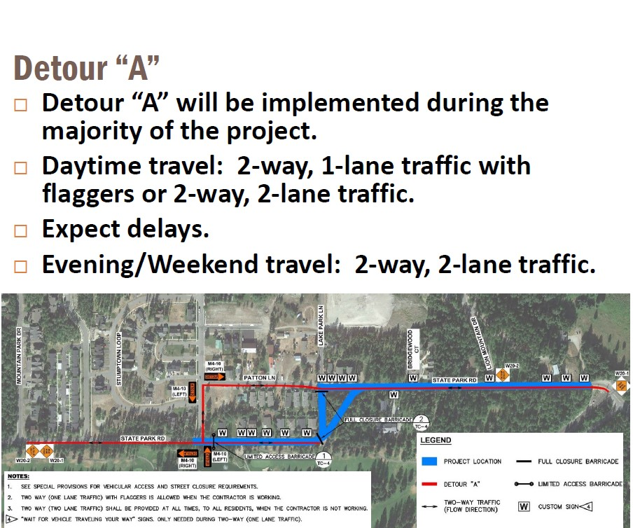 State Park Road Project Detour A Map