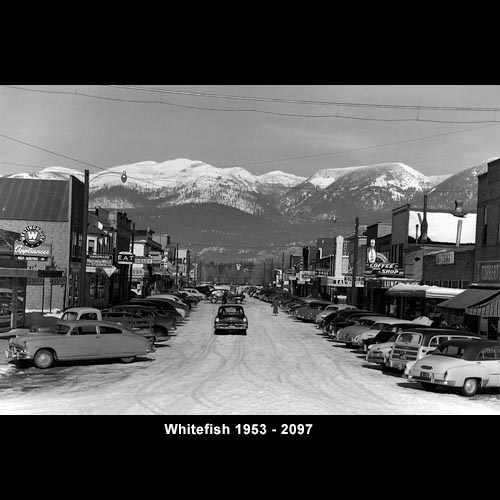Historical Whitefish in Black and White with Mountains in the Background